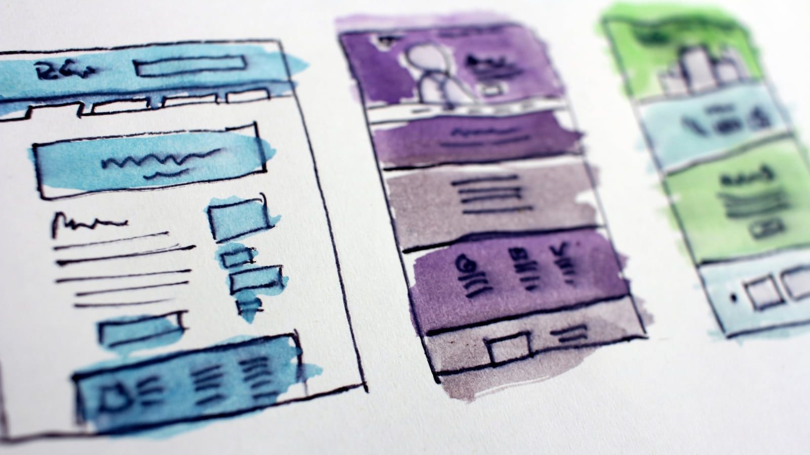 Wireframes drawings of website themes